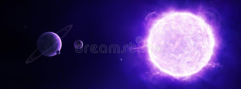 Purpere zon in ruimte met planeten royalty-vrije illustratie