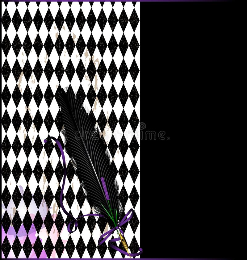 Purpere zwarte achtergrond met pen stock illustratie