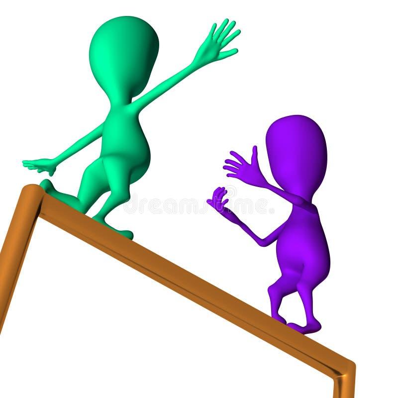 Purple 3d puppet encourage green make move