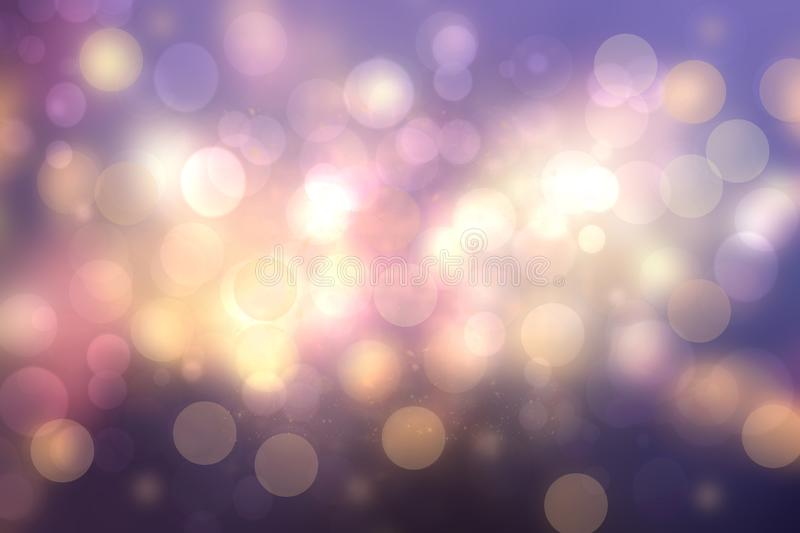 Purple abstract bokeh. Purple and blue gradient glowing background with bright blurred circles and glittering stars. Beautiful stock photo