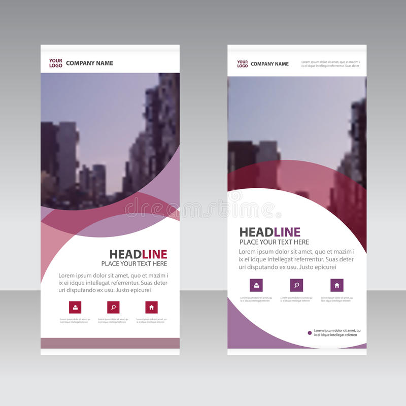 Purple abstract Business Roll Up Banner flat design template , Abstract Geometric banner template Vector illustration set. Abstract presentation template royalty free illustration