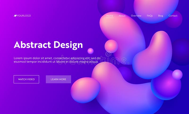Purple Abstract Geometric Drop Shape Landing Page Background. Futuristic Digital Motion Gradient Pattern. Soft Neon royalty free illustration