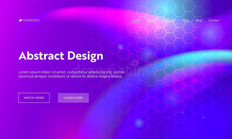 Purple Abstract Geometric Hexagon Shape Landing Page Background. Futuristic Digital Motion Gradient Pattern. Creative stock illustration