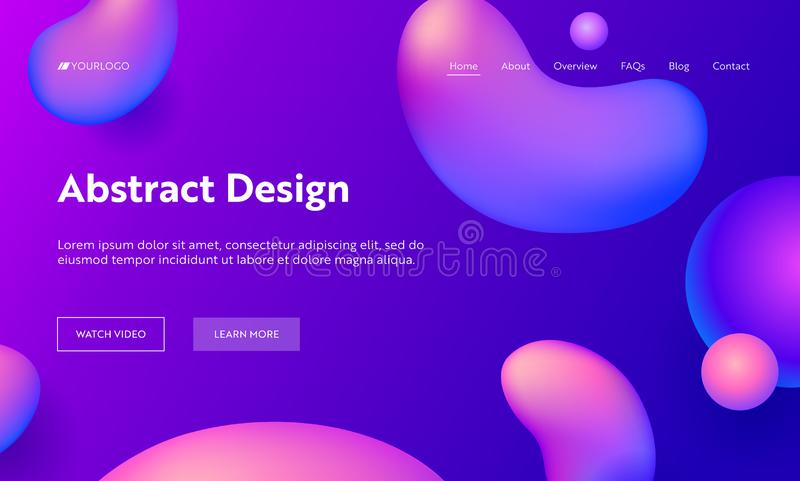 Purple Abstract Liquid Drop Shape Landing Page Background. Futuristic Digital Ink Style Gradient Pattern. Creative Neon royalty free illustration