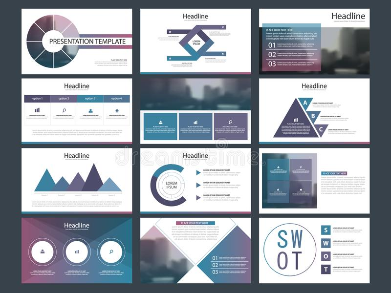 Purple Abstract presentation templates, Infographic elements template flat design set for annual report brochure flyer leaflet royalty free illustration