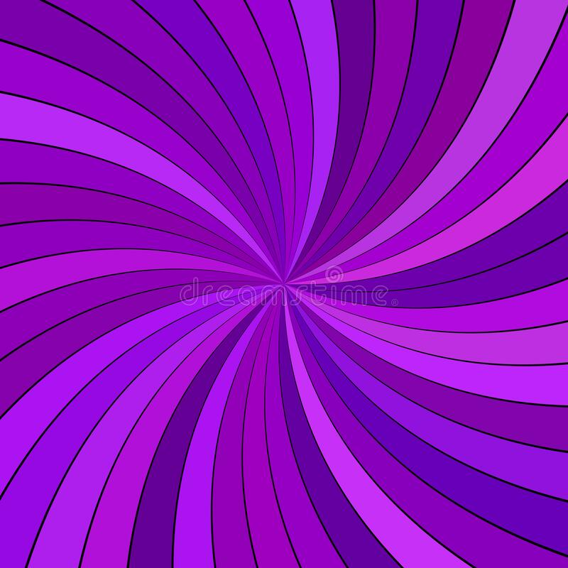 Purple abstract psychedelic swirl background from striped rays stock illustration