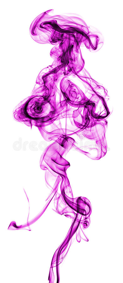Purple abstract smoke. Isolated on white background stock image