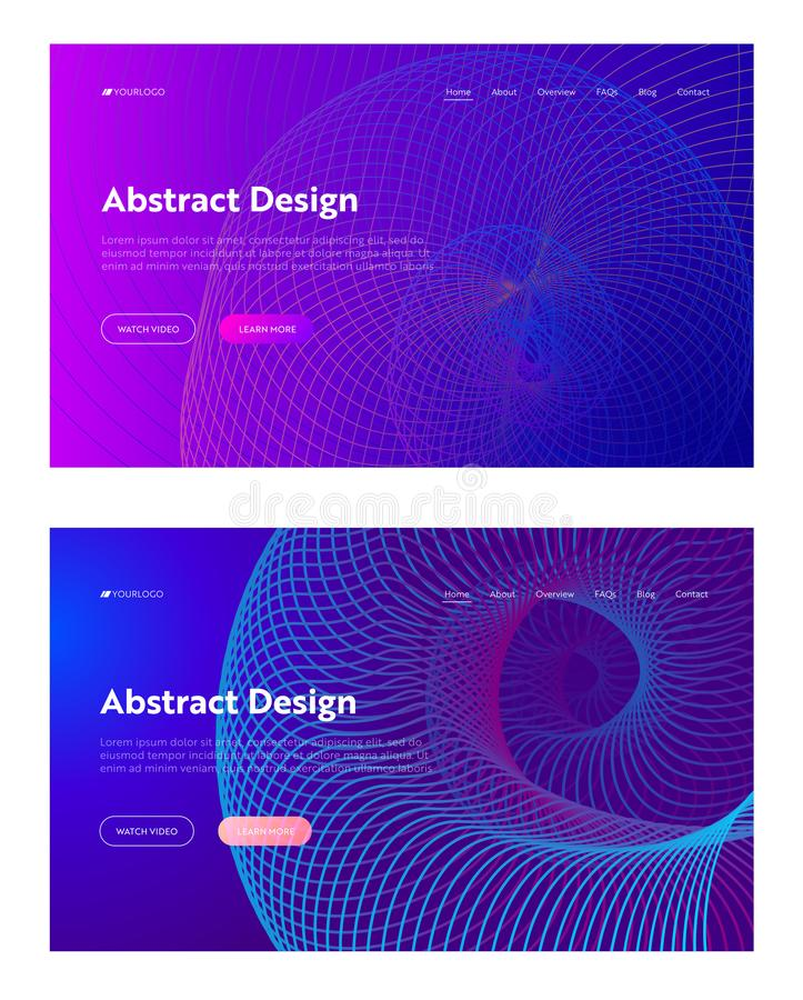Purple Abstract Spiral Grid Shape Landing Page Set vector illustration