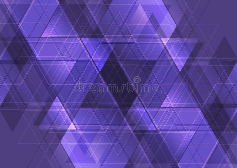 Purple abstract tech triangles mosaic pattern design stock illustration