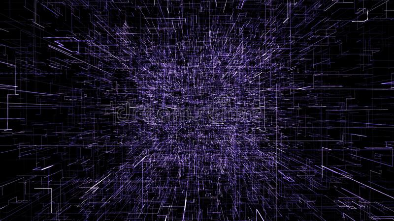 Purple abstract virtual space. 3d illustration flying through digital data tunnel. vector illustration