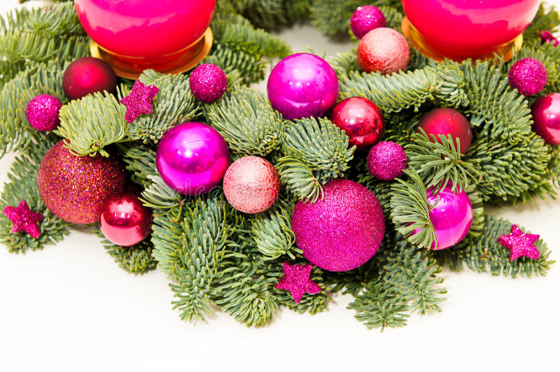 Purple advent wreath. Christmas advent wreath with candles and advent decoration royalty free stock images