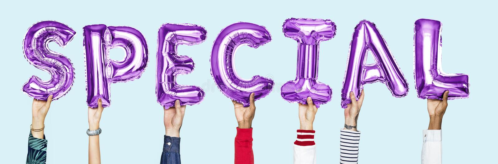 Purple alphabet balloons forming the word special royalty free stock photography