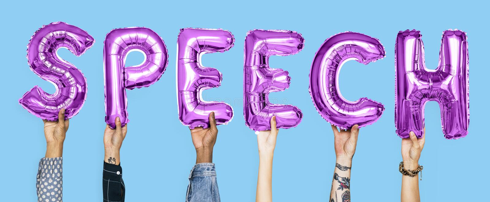 Purple alphabet balloons forming the word speech royalty free stock photography