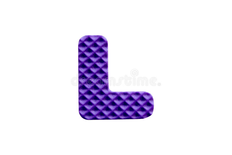 Purple alphabet L made from EVA foam on white background. Purple alphabet L made from EVA foam isolated on white background with clipping path stock photos