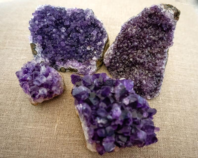 Amethyst druzy clusters esoteric chakra healing. Purple amethyst clusters for chakra healing and esoteric practices, crown chakra royalty free stock images