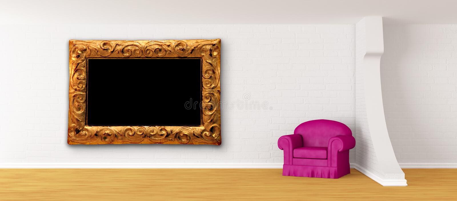 Purple Armchair With Frame In Modern Interior Royalty Free Stock Images