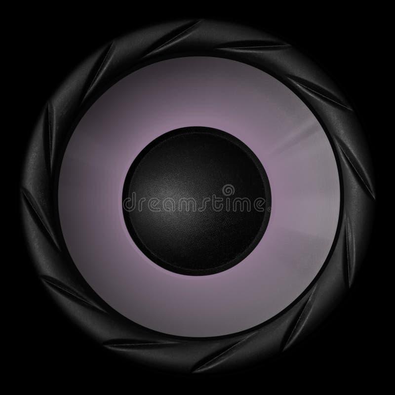 Purple audio speaker isolated on black background stock illustration