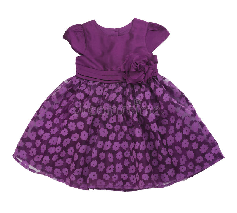 Purple baby dress on white background stock photos