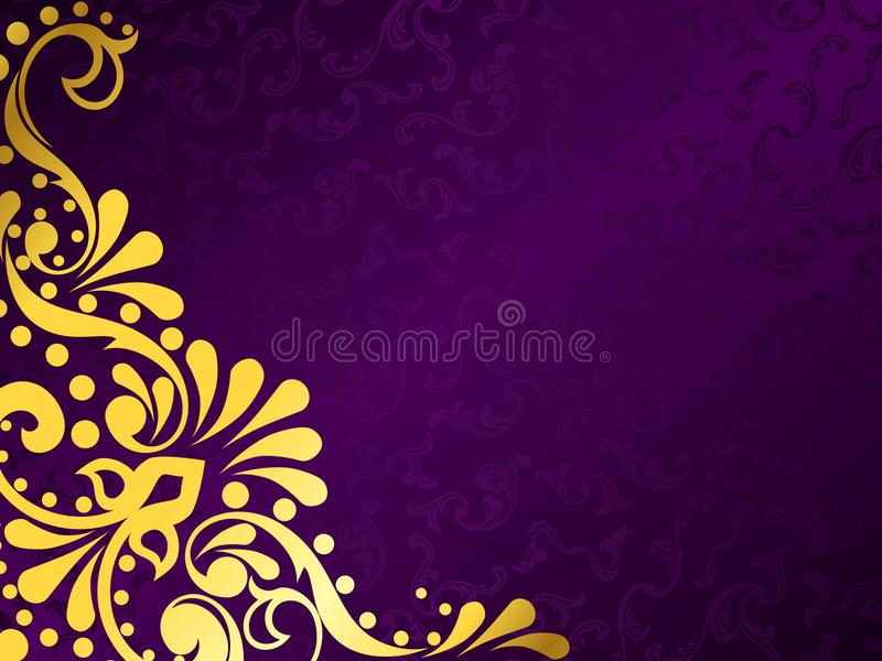 Purple background with gold filigree, horizontal royalty free illustration