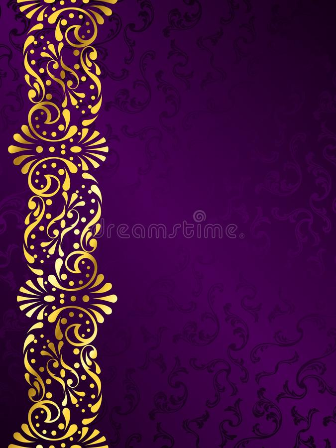 Purple background with a gold filigree margin vector illustration