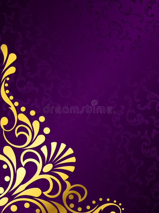 Purple background with gold filigree, vertical royalty free illustration