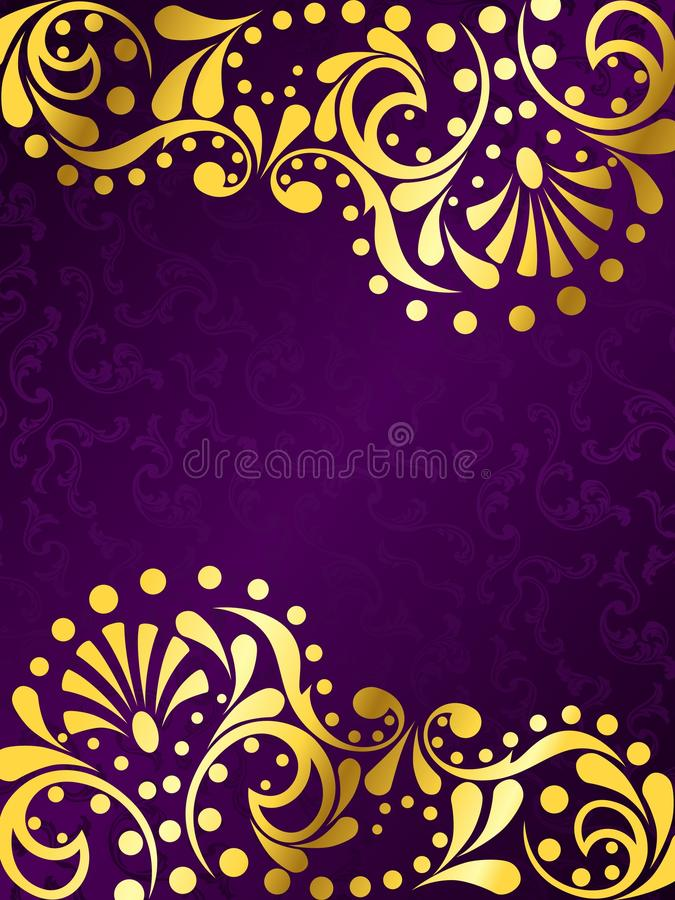 Purple background with gold filigree, vertical stock illustration