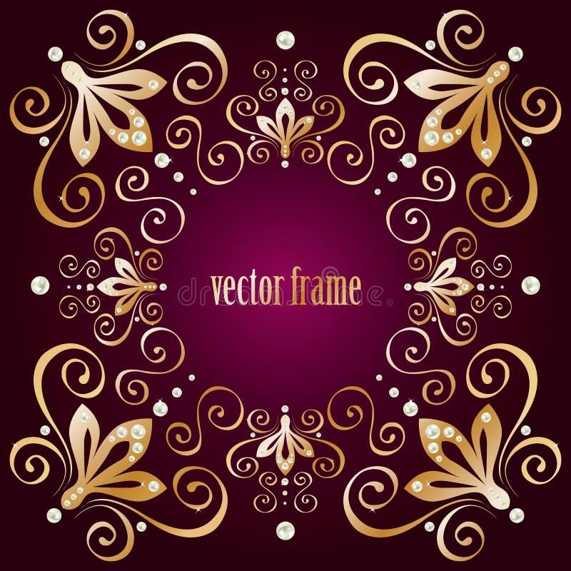 Purple background with luxury gold vintage frame stock illustration