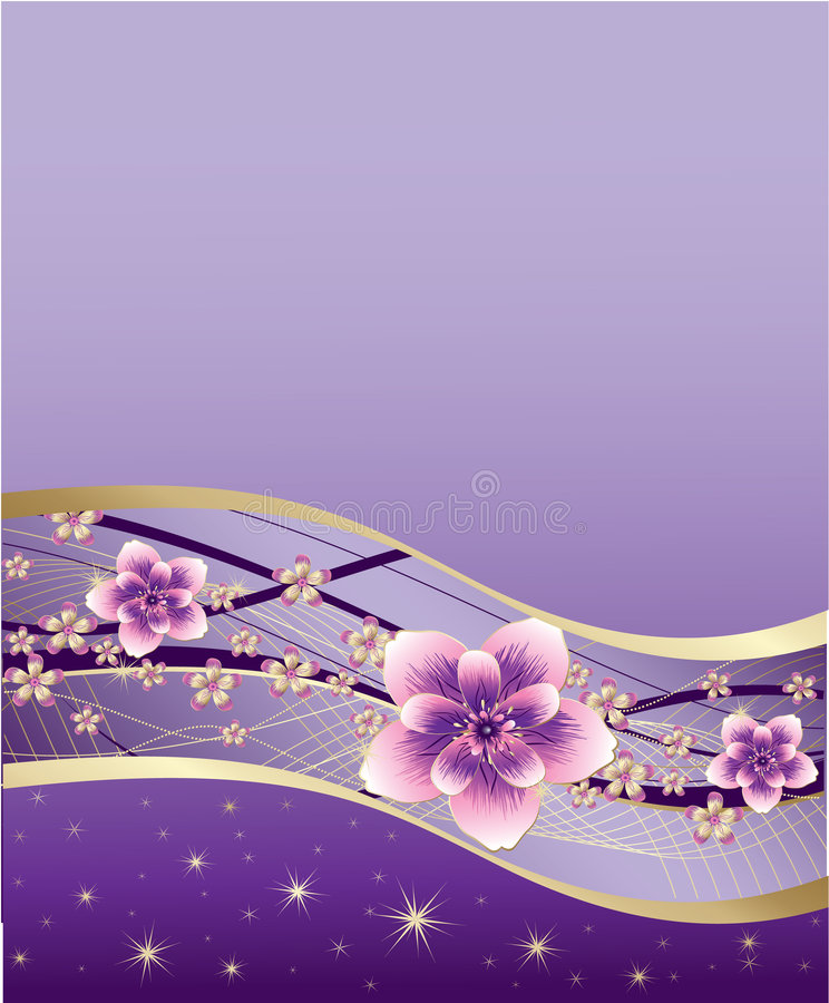 Purple Background With Pink And Gold Flowers Stock Vector