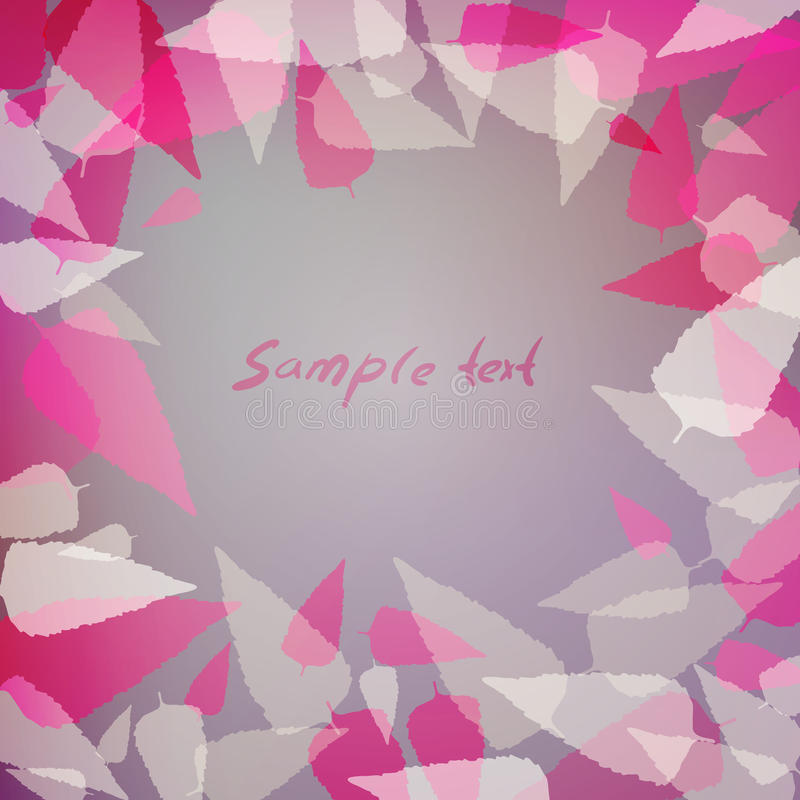 Purple background with pink leaves royalty free illustration