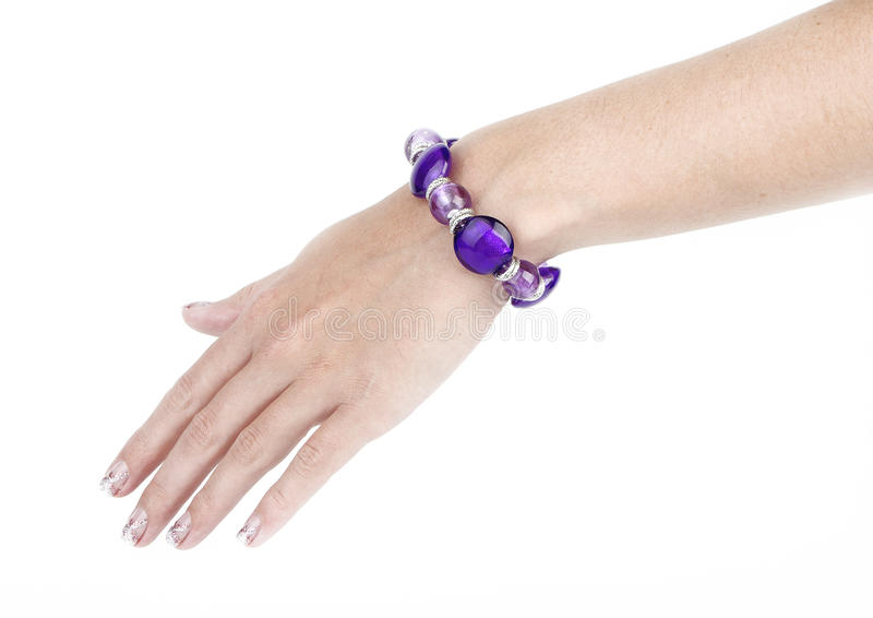 Purple Bangle With Human Arm Royalty Free Stock Photography