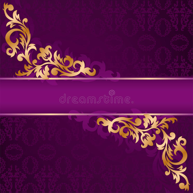 purple banner with gold ornaments royalty free stock