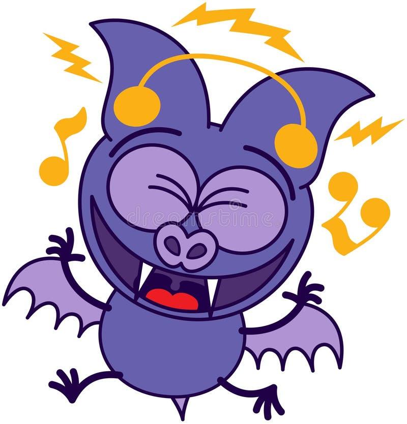 Naino Bat Dawnload Song: Purple Bat Listening To Music Stock Vector