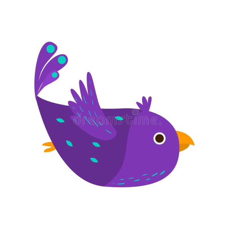 Purple beautiful bird parrot flying in blue sky. Purple beautiful bird parrot flying in jungle tropical blue sky. Flat style. Vector illustration on white royalty free illustration
