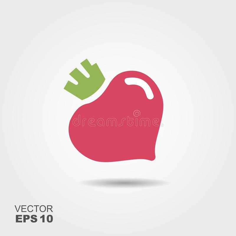 Purple beet icon logo. Fresh vegetarian concept. Cool simple flat design beetroot symbol. stock illustration