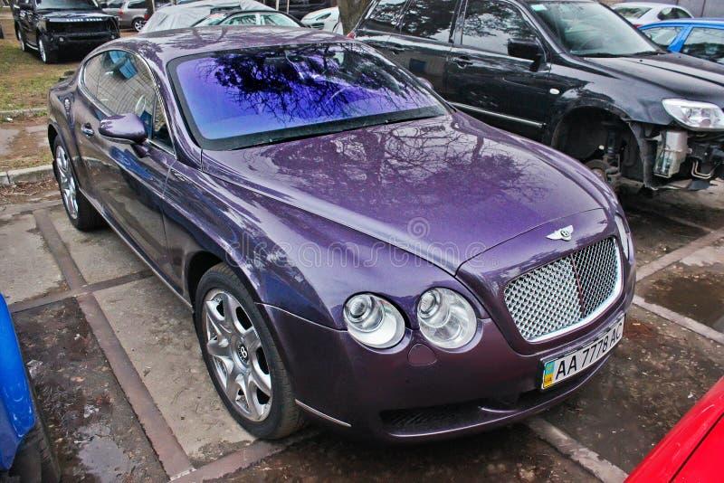March 3, 2012, Kyiv. Ukraine. Purple Bentley in the city stock photography