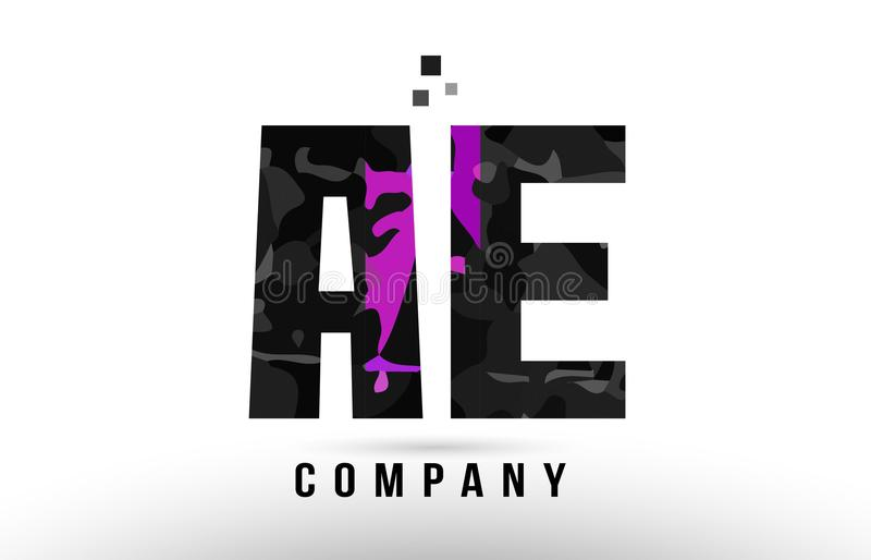 Purple black alphabet letter ae a e logo. Combination design suitable for a company or business royalty free illustration