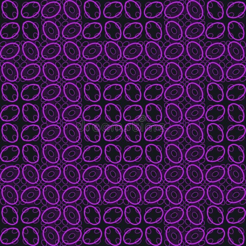 Purple black neon flower print design. Purple black neon print royalty free illustration