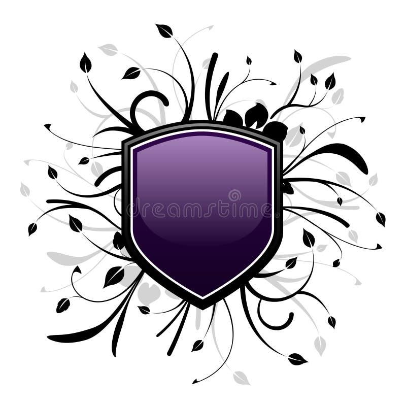 Purple and black shield emblem stock illustration