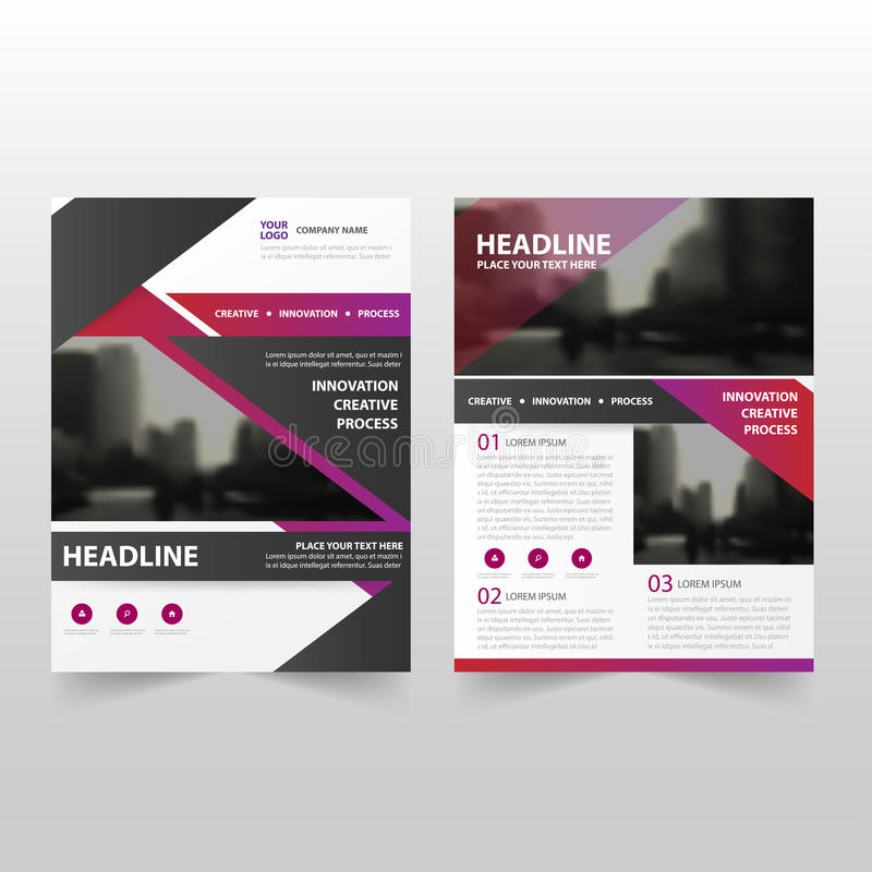 Purple black Vector annual report Leaflet Brochure Flyer template design, book cover layout design, abstract business presentation. Template, a4 size design royalty free illustration