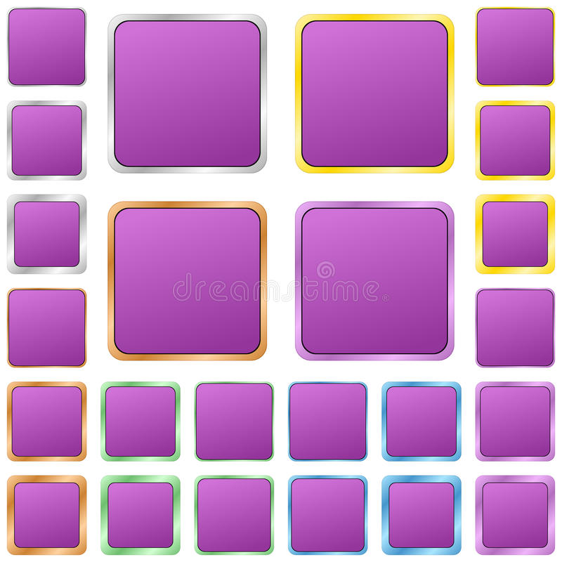 Purple blank square metal button set stock illustration