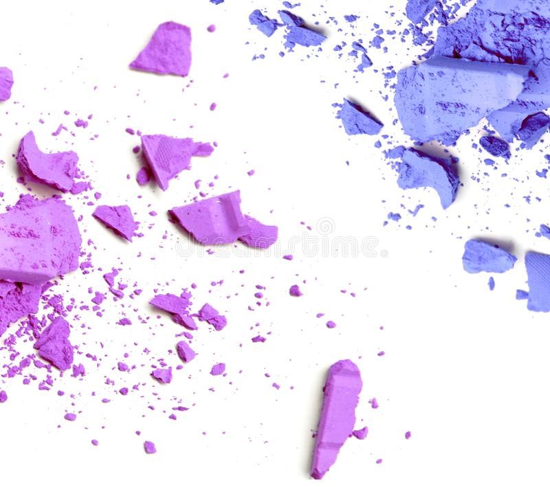 Purple and blue crushed make up color powder. royalty free stock photography