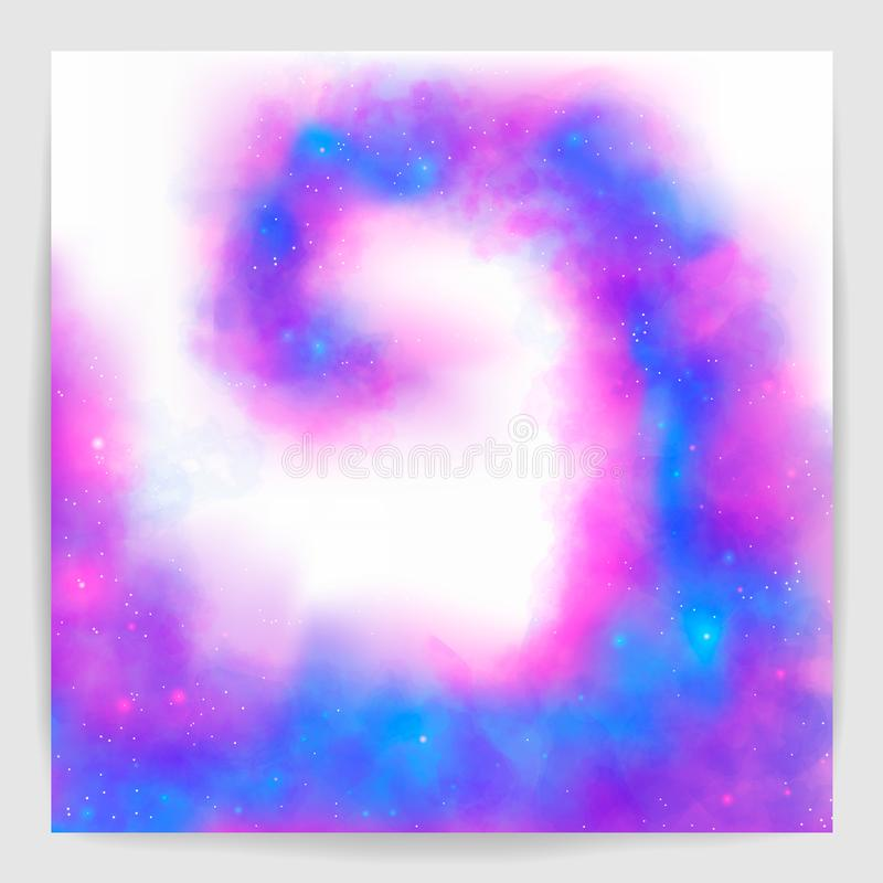 Purple and blue fantasy watercolor fog background. stock illustration