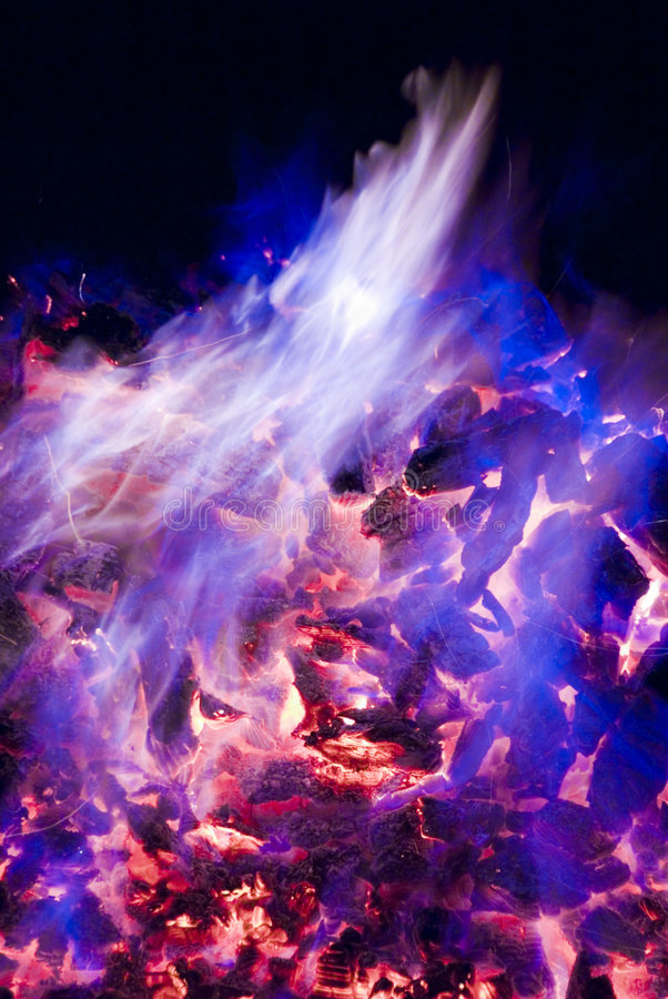Purple And Blue Flames Of Fire Royalty Free Stock Image