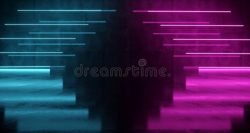 Purple And Blue Futuristic Sci-Fi Arow Shaped Neon Lights On Wall With Reflections On Concrete Floor. 3D Rendering. Illustration stock photos