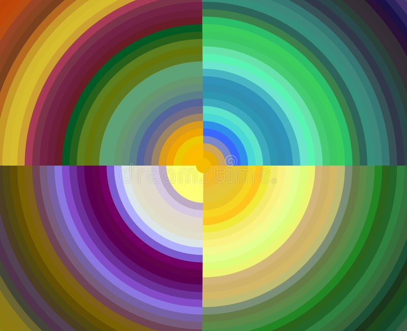 Abstract gold pink yellow blue green circular colors, forms, fluid background, geometries, bright background, colorful geometries. Purple blue gold yellow green vector illustration