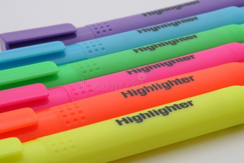 Purple Blue Green Pink Orange and Yellow Highlighter stock photos