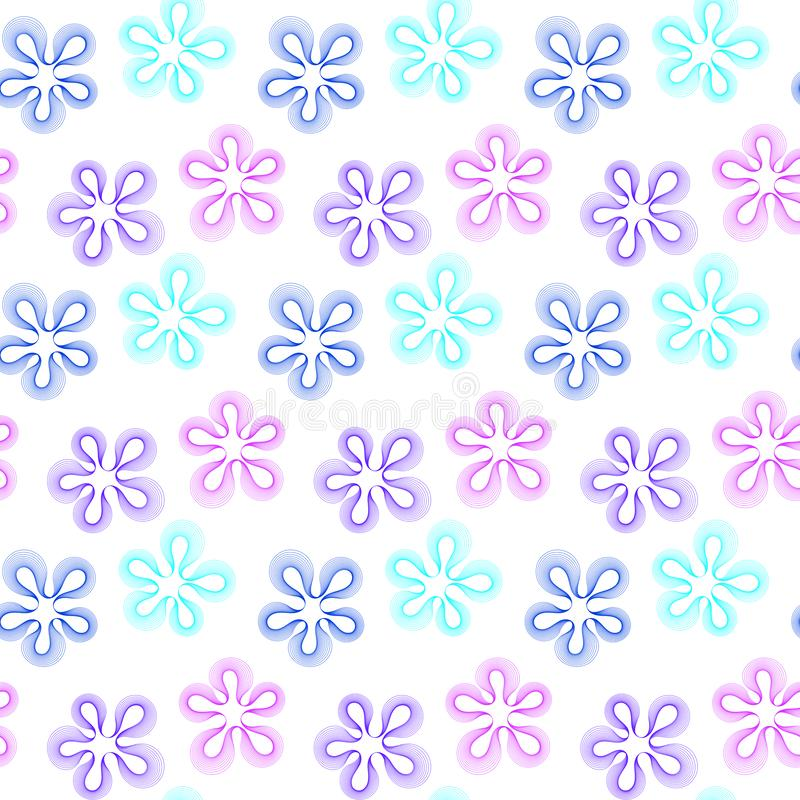 Seamless stylized flower spots purple and blue vector illustration