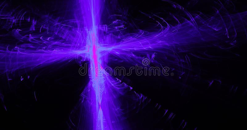 Purple Blue Pink Abstract Lines Curves Particles Background. Abstract Design In Purple Blue Pink Lines Curves Particles On Dark Background royalty free illustration