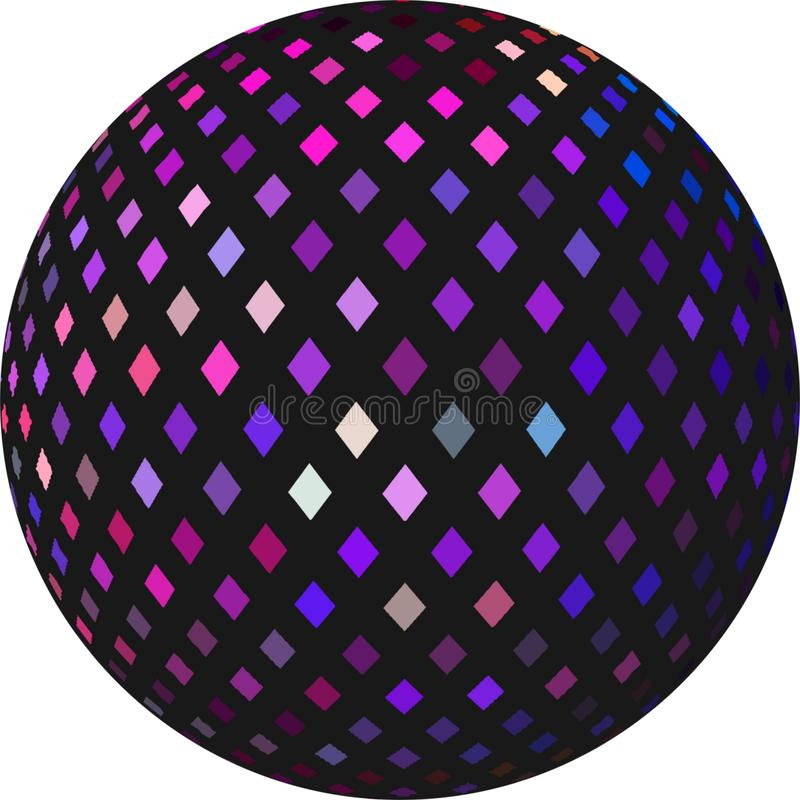 Purple blue pink mosaic on black ball 3d abstract element. Shimmer textured sphere isolated. Festive design. vector illustration