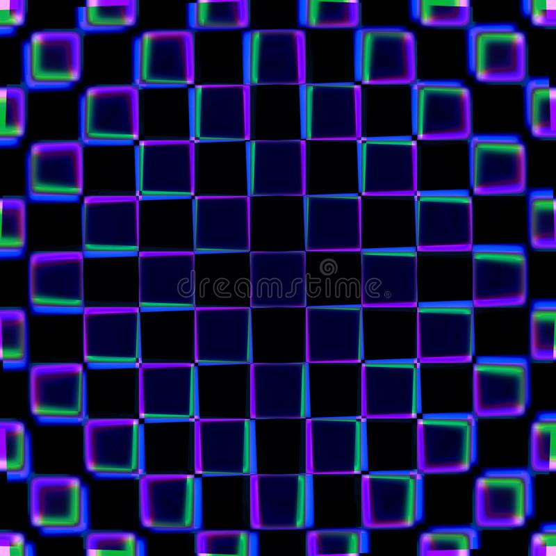Purple and blue squares pattern. Selective focus purple and blue squares pattern on a black background vector illustration